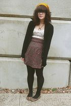 purple H&M skirt - white Old Navy top - brown Target shoes - gold f21 hat