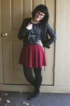 ruby red H&M skirt - black color block Blowfish loafers