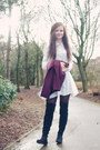 Black-market-boots-ivory-swing-coco-boo-loves-dress-maroon-new-look-jacket
