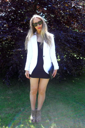 white Zara blazer - black Ebay dress - brown ashish shoes - vintage purse