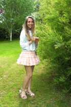 pink Topshop skirt - blue vintage top - white Topshop shoes