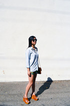 cognac Jeffrey Campbell wedges - chambray madewell shirt - Danielle Nicole bag