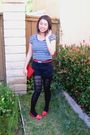 Blue-shirt-red-belt-black-shorts-black-tights-blue-steve-madden-shoes-