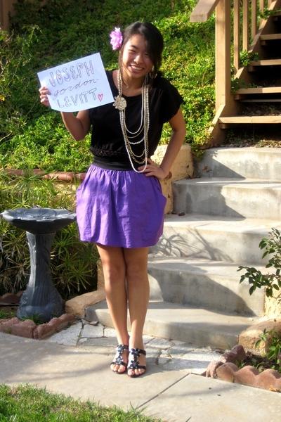 purple shirt - black H&M dress - black shoes - Forever21 accessories