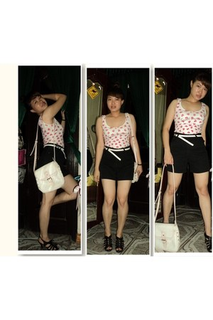 White pink bag bag - jean Black Short shorts