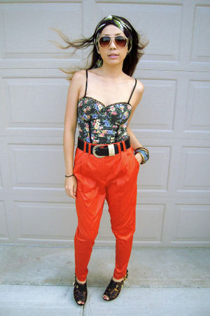 bodysuit Zara top - Forever 21 sunglasses - orange H&amp;M pants