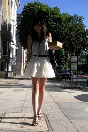 blue oversize tank H&M - black studded belt thrifted - white tutu skirt H&M Kids