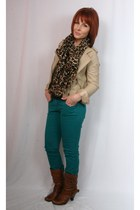 faux leather Forever 21 jacket - leather Aldo boots - delias jeans