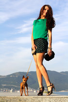 green Mango blouse - black Fornarina shorts