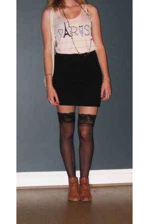 black skirt - pink shirt - black Victorias Secret tights - brown Gortz boots - g