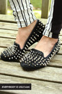 black spiked loafers