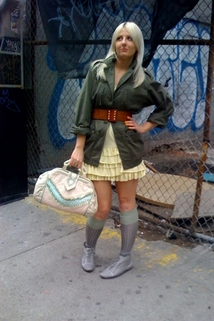 vintage jacket - Mom bought it dress - vintage belt - H&M socks - vintage purse