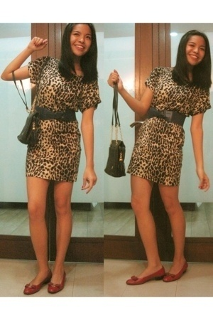 Leopard print dress - Mango blue belt - Bally black lambskin bag - Salvatore Fer