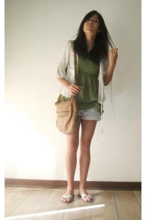 Kelly green empire tube top - Lace cardigan Warehouse - Shorts Topshop - Lambski