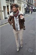 calvin klein jacket - Guess sweater - Alexander McQueen scarf - Diesel pants