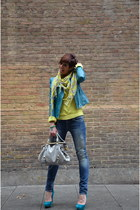 turquoise blue Guess jacket - yellow Zara sweater - silver Miu Miu bag