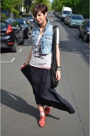 Topshop skirt - Guess t-shirt - Guess vest - Paul Smith flats