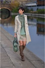 Light-brown-marsell-boots-turquoise-blue-dixie-dress-beige-zara-coat