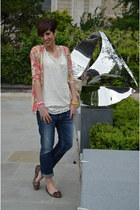 Guess cardigan - vintage dress - Guess jeans - Miu Miu flats