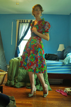 flower vintage dress - purple elastic Express belt