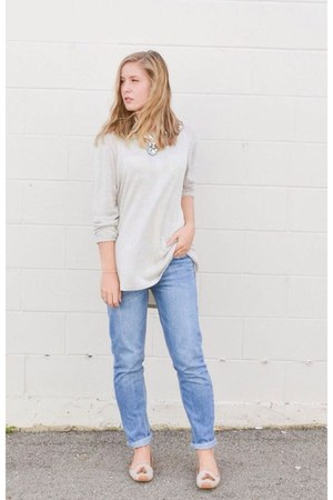 eggshell loafers shoes - sky blue boyfriend H&M jeans - beige Target sweater