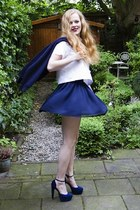 white Monki shirt - navy American Apparel skirt - navy vintage cardigan - navy n