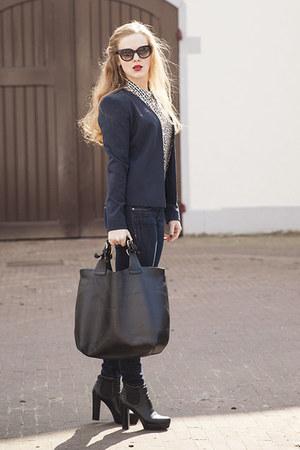 navy Vila blazer - black Daniele Dentici boots - navy H&M jeans - black Zara bag
