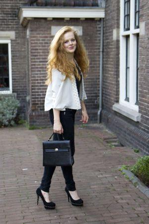 beige H&M jacket - gray vintage t-shirt - black Primark jeans - black vintage ba