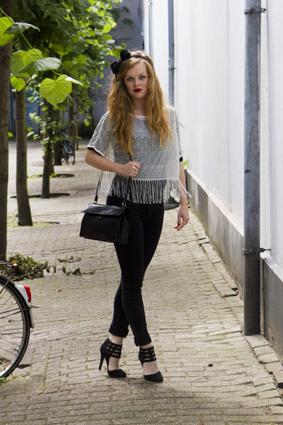 black Primark jeans - black vintage bag - white H&M top - black Dorothy Perkins
