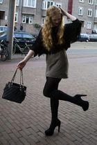 black new look shoes - black Chanel bag - brown vintage skirt