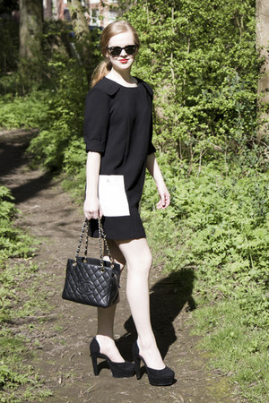 black H&M Trend dress - black Chanel bag - black Ray Ban sunglasses - black new