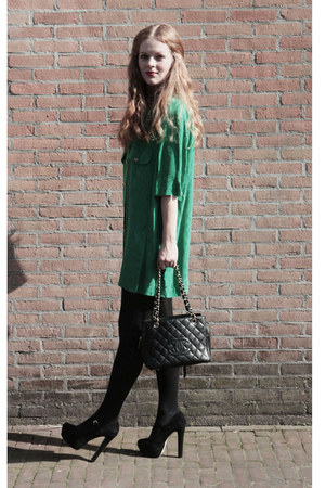 green Jutka & Riska blouse - black Chanel bag - black Topshop heels