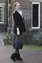 black vintage blazer - heather gray Primark tights - black Chanel bag - black vi