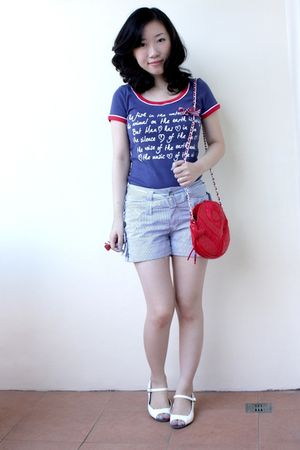 blue Cache Cache shirt - blue sm dept store shorts - white Zara shoes - red paul