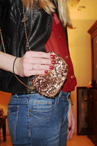 tawny Glitter bag bag - teal Jeans jeans - black Leather jacket jacket