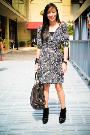 black gift from Hong Kong dress - black online shoes - brown CMG accessories - b