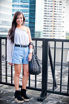 blue denim Trunk Show shorts - black boots Soule Phenomenon shoes