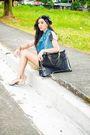 Gray-una-rosa-top-blue-promod-vest-black-zara-shorts-black-manels-accessor