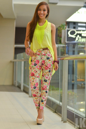 chartreuse neon green Promod top