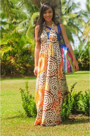 orange Moonshine dress - blue Glitterati swimwear
