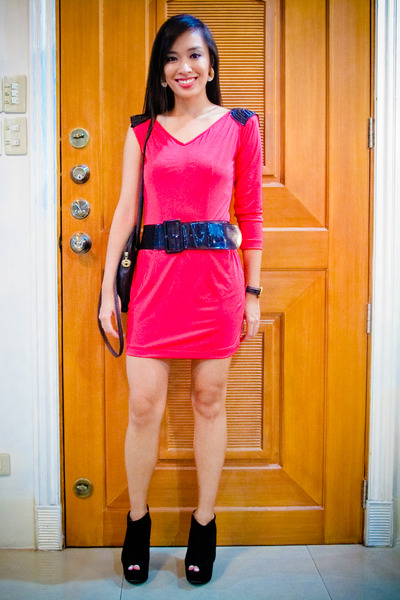 pink Glitterati dress - black Zara belt - black Topshop shoes - black longchamp