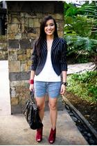 black blazer - white Topshop top - blue Zara shorts - red online shoes - red Baz