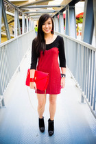 red bought online dress - black bought online shoes - red Anthology accessories
