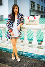 White-bought-online-blazer-white-zara-top-green-zara-shorts-white-charles-