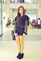 black studded Trunk Show shorts - black wedges Topshop shoes