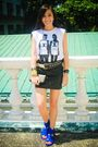 White-streetbeatboutique-top-black-glitterati-skirt-blue-zara-shoes-black-