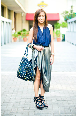 black heels shoes - black studded PBJ purse - silver maxi skirt - blue halter To