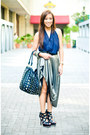 Black-heels-shoes-black-studded-pbj-purse-silver-maxi-skirt-blue-halter-to
