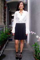 white Eight One top - black Dorothy Perkins skirt - black Qupid shoes