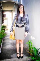 black Zara top - gray Zara skirt - black Tango belt - brown ichigo accessories -